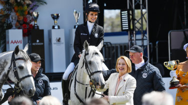 Trainer Gai Waterhouse (right) leaders her daughter Kate at the launch of the Melbourne Cup Carnival on Monday.