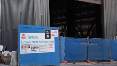 Construction of the new Crows Nest metro station.