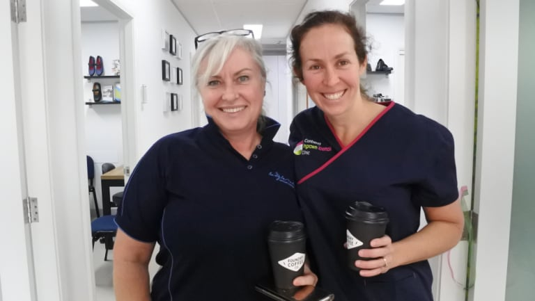 Judy Elferkh from Body in Motion Advanced Massage supports Nicole Hart on the opening of her Canberra Ingrown Toenail Clinic, part of Brindabella Podiatry.