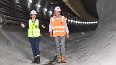 Premier Gladys Berejiklian and Transport Minister Andrew Constance in a metro rail tunnel on Thursday.