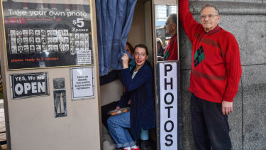 Alan Adler with the photo booth at Flinders Street Station for 46 years.