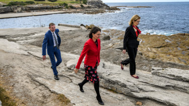 Marine park view: Premier Gladys Berejiklian (centre), with Gabrielle Upton, Environment Minister, and Bruce Notley-Smith, member for Coogee, at Thursday's announcement.