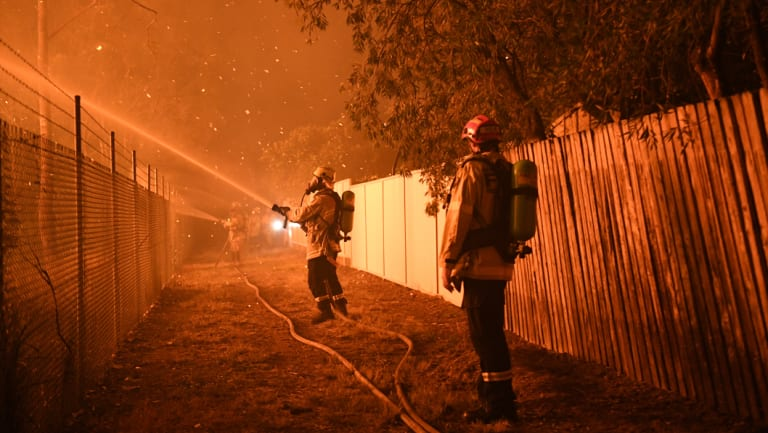 Firefighters fight flames close to homes in Wattle Grove on Saturday.