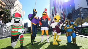 Advance party: Mascots from some of the NRL clubs pose in Brisbane.