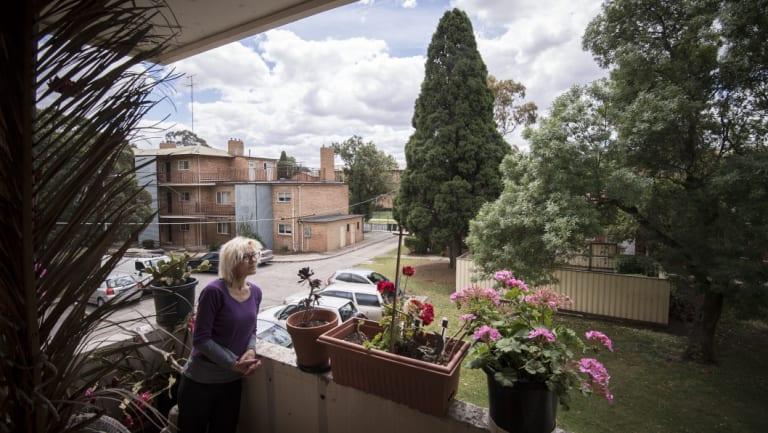 Ms Hanson on her balcony on Thursday.