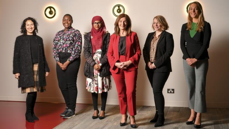 From left: Zac Hatzantonis, Avionne Prentice, Aadeeba Mau, Dorothy Hisgrove, Laura Yuile and Lara Jobling show the diversity of the PwC 'no-dress code' dress code.