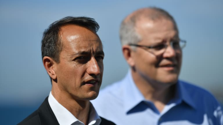 Liberal candidate for Wentworth Dave Sharma with Prime Minister Scott Morrison.