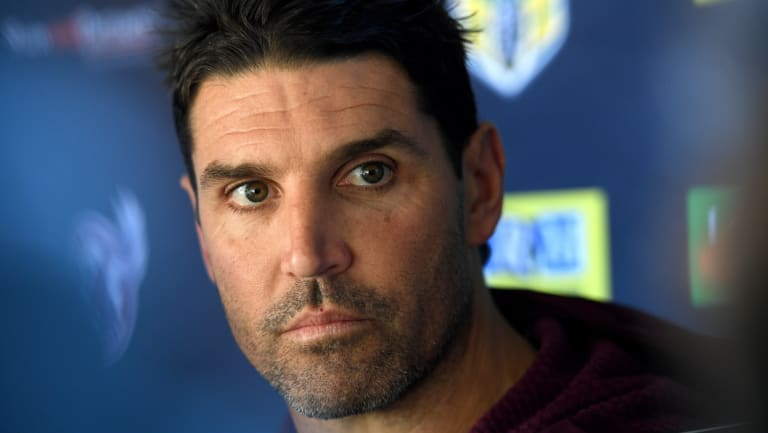 No comment: Manly coach Trent Barrett speaking to media on Thursday.