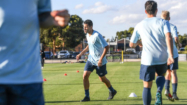Araibi and his teammates at work for Pascoe Vale.