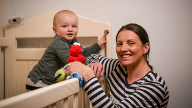 Darcy Tucker today, aged almost 15 months. Pictured with his mum Lauren.