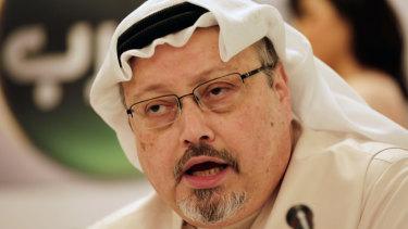 Saudi journalist Jamal Khashoggi pictured in 2015 at a  press conference in Manama, Bahrain.