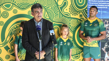 Gary Ella speaking about the Indigenous jersey at Rugby Australia headquarters on Thursday morning.