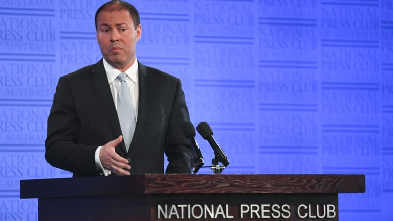 <p>Australian Energy Minister Josh Frydenberg delivers his address to the National Press Club on Wednesday.