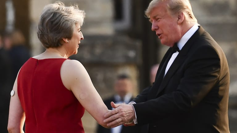 Photographs of Ms May with the US President show her wearing the blood glucose monitoring device.
