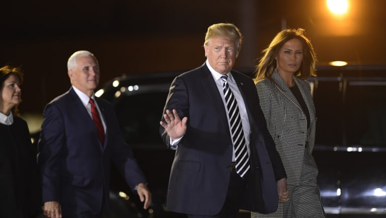 Melania Trump, Donald Trump and vice president Mike Pence and his wife Karen Pence arrive at Andrews Air Force Base in Maryland.