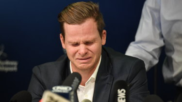 Dark chapter: Steve Smith after arriving home from Cape Town in the wake of the  ball-tampering saga.