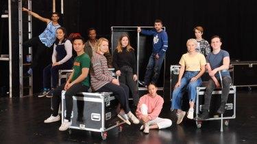 The STC cast of Lord of the Flies, from left to right: Joseph Althouse, Nikita Waldron, Mark Paguio, Justin Amankwah, Mia Wasikowska, Contessa Treffone, Yerin Ha, Rahel Romahn, Eliza Scanlen, Nyx Calder, and Daniel Monks.