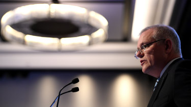 Treasurer Scott Morrison delivers his pre-budget address to the Australian Business Economists luncheon in Sydney on Thursday.