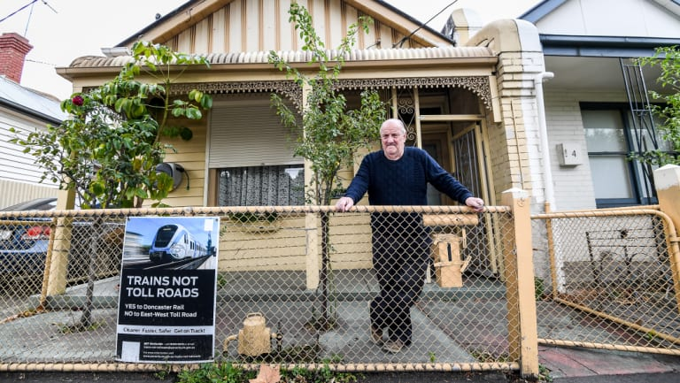 Keith Fitzgerald in Bendigo Street, Collingwood, can't believe his home could be compulsorily acquired again.
