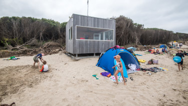 The Surf Lifesaving lookout at Inverloch surf beach is on skids so it can be moved back from the encroaching surf.