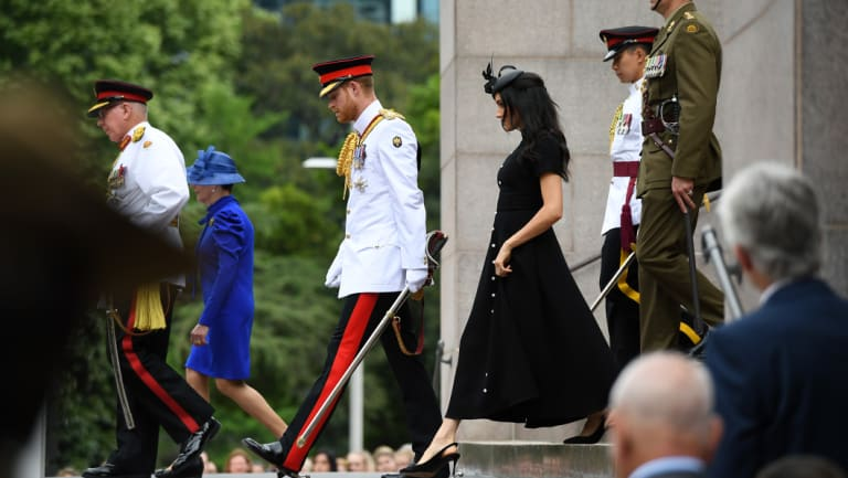 Meghan and Harry at the opening of the War Memorial enhancements.