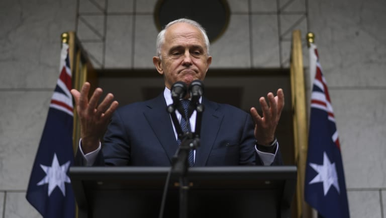 Australian Prime Minister Malcolm Turnbull speaks to the media during a press conference at Parliament House in Canberra, Thursday, August 23, 2018.