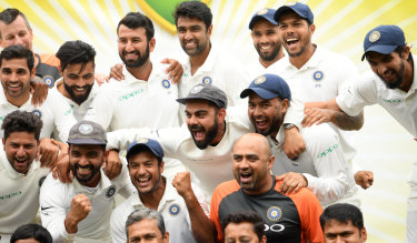 Trailblazers:  India celebrate a 2-1 Test series win against Australia at the SCG in January.