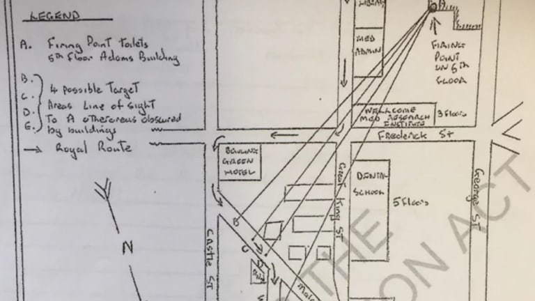 A hand-drawn map confirms the shot was heard near Walsh Street, metres from where the Queen travelled.
