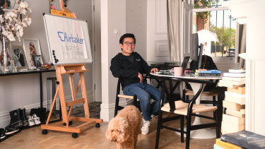 Airtasker chief executive Tim Fung working from home during the coronavirus pandemic.