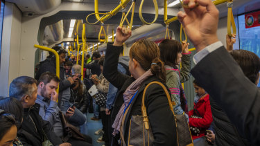 In Sydney, the light rail and metro train network have been designed to offer more standing room and fewer seats.