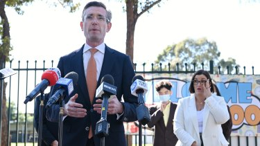 NSW Premier Dominic Perrottet and Education Minister Sarah Mitchell at Fairvale High School.