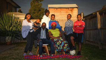 Burundian refugee and musician Eimable Manirakiza, 24,  has been missing for over a month. The Manirakiza family, from left, Harmony, Nicholas, Dismas, Bienvenue, Deborah, Benine, Joshua and Brighton are hoping he is safe.