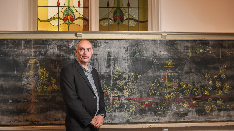 'Gift from the past': Century-old chalkboard mural unearthed at school – Sydney Morning Herald