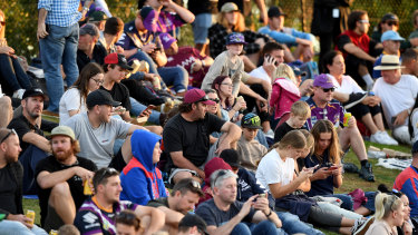 Crowds at Sunshine Coast stadium were criticised for not observing social distancing.
