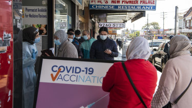 Queues for the COVID-19 vaccine at Lakemba, during Sydney's Lockdown in July.