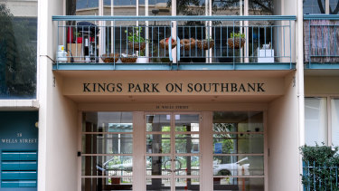 The Kings Park complex in Southbank where some residents have tested positive.