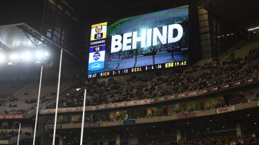 The score review during the match between the Tigers and the Cats at the MCG on Friday night.