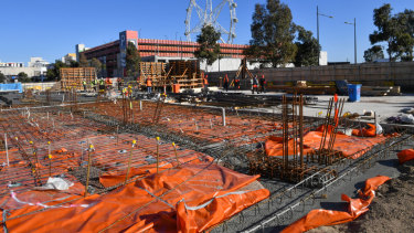 The site Docklands' $58 million 'vertical' Primary School, due to open in 2021.