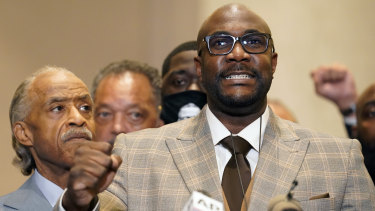 George Floyd's brother Philonise speaks at a news conference after the verdict.