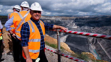 NSW Nationals leader John Barilaro - pictured - and NSW treasurer  Dominic Perrottet visited Ravensworth Open Cut coal mine, north of Singleton, on the first day of campaigning for David Layzell - the Nationals Upper Hunter candidate. Photographed Thursday 8th April 2021. Photograph by James Brickwood. SMH NEWS 210408