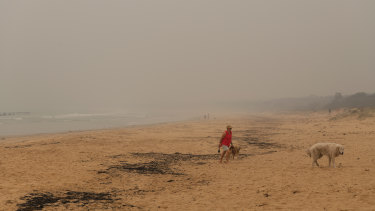 Smoke over Merimbula's foreshore. The town's residents and retailers have suffered heavily through the recent bushfires.
