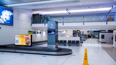 An empty Sydney Airport during lockdown this year.