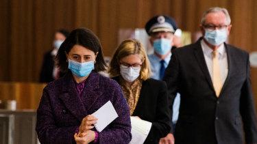 NSW Premier Gladys Berejiklian, Dr Kerry Chant and Health Minister Brad Hazzard.