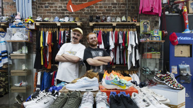 Oscar Ousback-King (left) and Alex Vellins find their vintage wares are popular among Millennials.