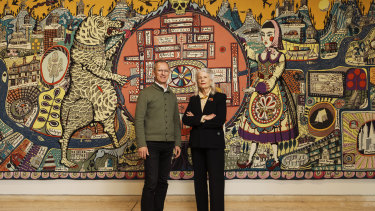 Art Gallery of NSW director Michael Brand and architect Penelope Seidler, one of those who donated to the project, as they unveiled its donors.