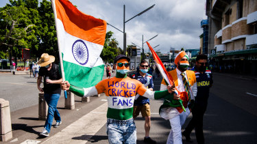 Indian fans arrive at the SCG on Thursday.