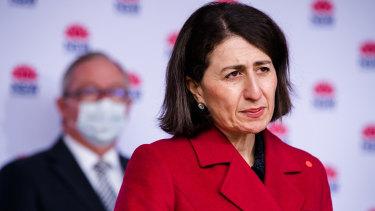 NSW Premier Gladys Berejiklian addressing the media on Monday.