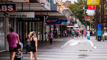 Many shops along Manly Corso remain closed and the ones that are open are quiet.