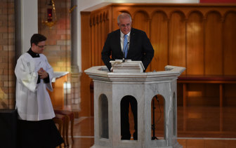 Scott Morrison attends a church service in Canberra in February to mark the start of Parliament for the year.
