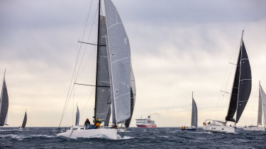 The Melbourne to Devonport yacht race began at Portsea on Sunday, with 19 yachts heading out though the Heads into Bass strait in wild conditions.